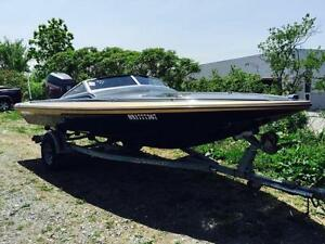 1988 SPEED BOAT CHECK MATE WITH TRAILER// 225 JOHNSON MOTOR