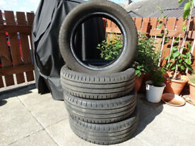 Set of four used Continental tyres 165/65R15H