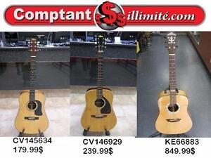 Qui a le plus grand choix de guitares acoustiques en Estrie? Chez Comptant illimite,com bien sûr!!!