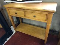 New 2 drawer Solid Oak hall console table HALF PRICE £149