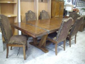 Harvest table six damask parson chairs