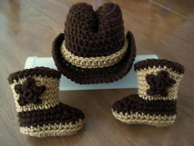 COWBOY newborn baby HAT and BOOTS set Cowgirl Brown crochet 0-3  mo PHOTO PROP (Cowboy Hat And Boots)