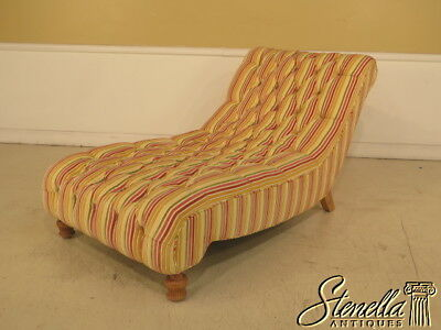 39360: Upholstered Striped Tufted Regency Style Chaise Lounge
