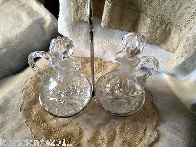 Serviteur huilier vinaigrier cristal avec bouchon anse