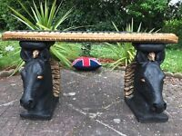 2 Magnificent Large Gilt Black Bronze French Style Flat Top Horses Garden Benches