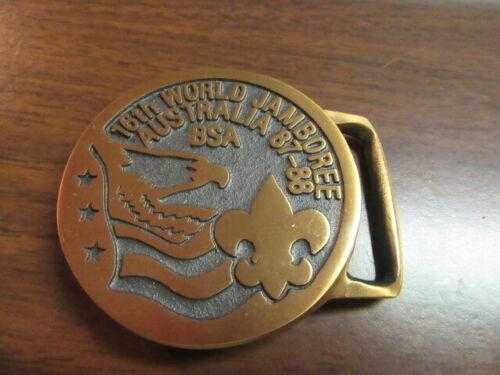 1987-88 World Jamboree Max Silber bronze Round Belt Buckle US Contingent  c1