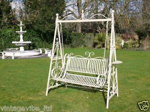 Large Cream Ornate Metal Swing Garden Bench Seat Ebay