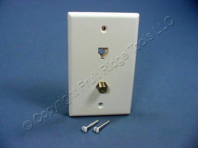 Leviton White Telephone Coax Cable CATV Video Jack Wallplate Type 625D 40258-W
