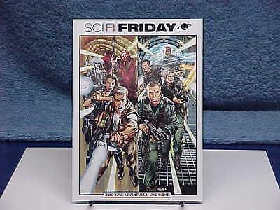 2002 STARGATE SG-1 & FARSCAPE SCI-FI FRIDAY TV PROMO POSTCARD NEAL ADAMS ART