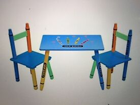 Children's 'Crayon' themed small rectangular table and 2 chairs