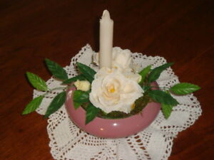 Silk flowers and candle centrepiece