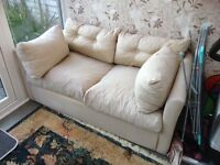 Sofa Bed Settee - Cream and in Fair ConditionTo be Collected £15.00