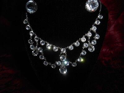 Antique 12k White GF Victorian Crystal Festoon Choker Lavaliere & Earrings 1920