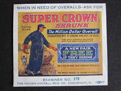 1920's Super Crown Shrunk OVERALLS Advertising Trade Card Miniature Color Poster