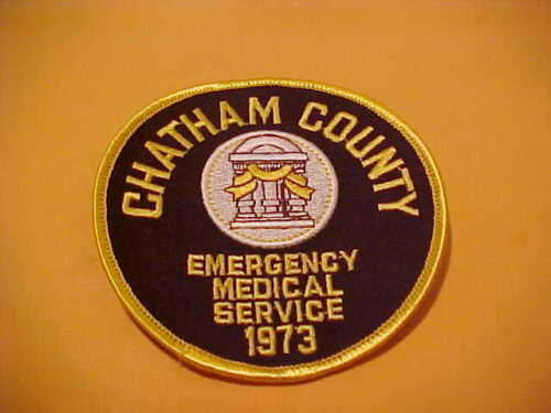 CHATHAM COUNTY GEORGIA EMERGENCY MEDICAL SERVICE PATCH UNUSED 4 X 4 INCH