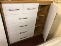 AVAILABLE NOW New white 2+4 drawer & 1door high gloss chest of drawers Only £149