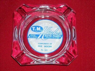 Vintage Clear Glass Advertising Ashtray T.M. Hicks Auto Parts Sweetwater TX #500