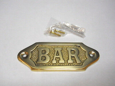 Solid Brass Bar Door Sign Or Decorative Plaque Wall Hanging New Pub Brewery -