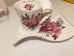 Vintage Adeline Fine Porcelain Happy Birthday cup and saucer