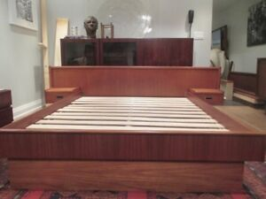 MCM Teak Queen Bed Frame with Floating Tables