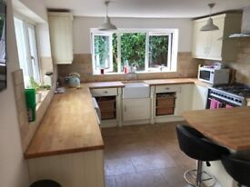 Cream Kitchen Units for Sale with Oak Work Tops, Extractor Hood and Butler Sink