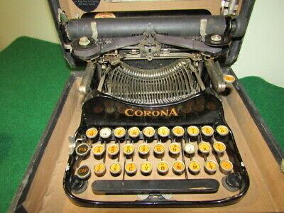 Antique 1917  Corona 3 Travel Folding Typewriter in Case