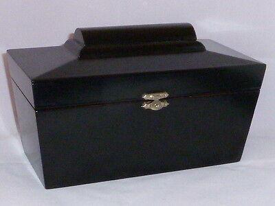 Stylish Antique Black Lacquer Sarcophagus Tea Caddy