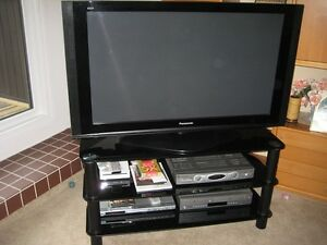 Panasonic TV and Stand and DVD/VHS Player