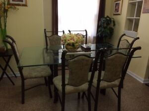 Thick Glass Dining Table w/ 6pcs. iron chairs
