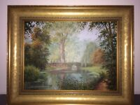 Lovely oil painting of a bridge near Anglesey Abbey £60 ono - Buyer collects Little Paxton