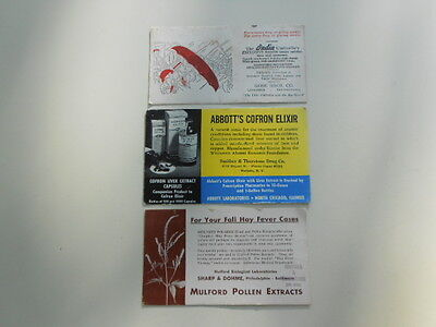 Vintage 1940s Ink Blotter Trade Cards India Umbrella, Abbott's Elixir,Mulford