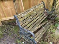 FREE Garden Bench in need of repair and 2 Cast Iron Bench Ends