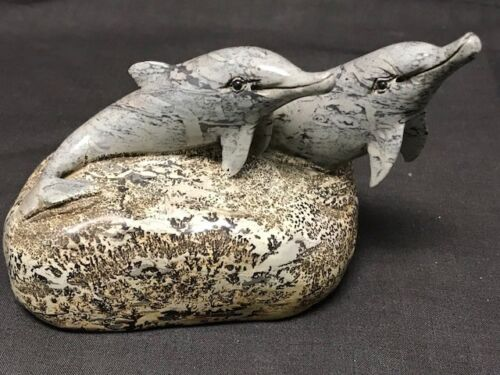 BRILLIANT DOLPHINS CARVING,CHINESE PICTURE STONE aka Chohua jasper