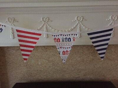 Seaside Red White & Blue BEACH HUT / HUTS with Stripes Fabric Bunting  White Beach Hut