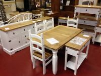New & boxed 5ft Solid Corona dining table with 4 chairs in white or grey ONLY £299 IN STOCK NOW