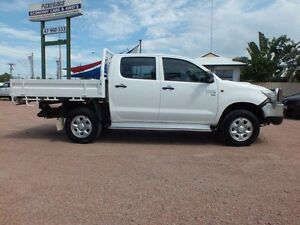 2013 Toyota Hilux KUN26R MY12 SR Double Cab Glacier White 5 Speed Manual Cab Chassis Rosslea Townsville City Preview