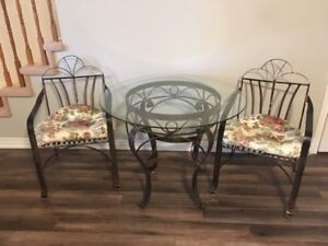 Wicker Emporium Rod Iron table, glass top and 2 chairs