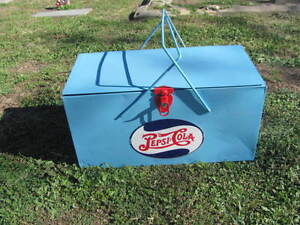 Vintage 1940's Ice Chest Pepsi Cola Coke Cooler Metal