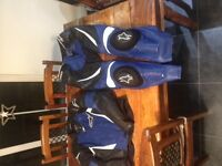 Mens Alpinestars Two Piece Motorcycle Leathers Blue Black and White Eur 56