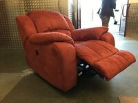 REDUCED PRICE!!!!! 3-PIECE SUITE in TERRACOTTA FAUX SUEDE including ELECTRIC RECLINER