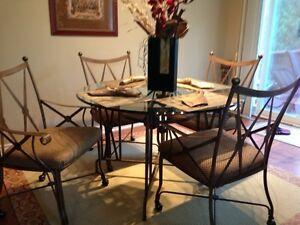 Solid wrought iron dining set. Reduced from $600 - must sell