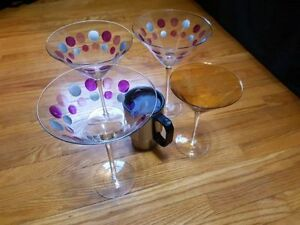 Large martini/wine glasses and coffee cup