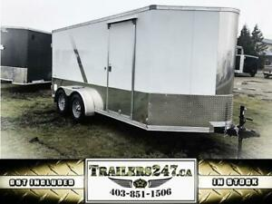 "7X14FT MOTORCYCLE TRAILER: +30"" VNOSE/FINISHED INTERIOR/TORSION"