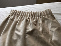 "Cream velour curtains with lining 77"" drop 82"" width. With tie backs. £50. B15 or B7"