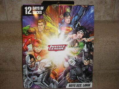 Justice League 12 Days Of Socks Advent Calendar Boys SZ Medium OR LARGE DC
