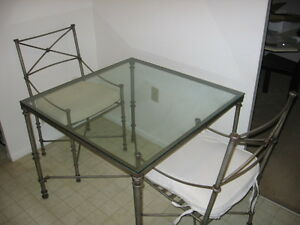 Glass-Top Table + 2 Matching Chairs