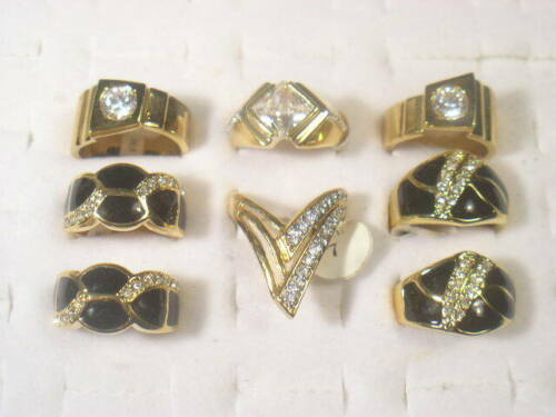 8 ....  MEN RINGS DESIGNER  CZ SIMULANTED DIAMOMDS  & CRYSTALS . LOT 220UP