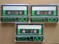 JL VERY RARE 3x SONY BHF 120 PENULTIMATE PREMIUM TYPE 1 CASSETTE TAPES 1978-1981. JOB LOT OR SOLO'S.