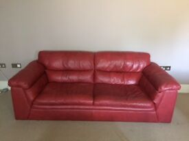 Red leather sofa (x2)