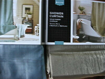 Sheer Overlay Shower Curtain Blue/Brown or Gold/Brown Home ...